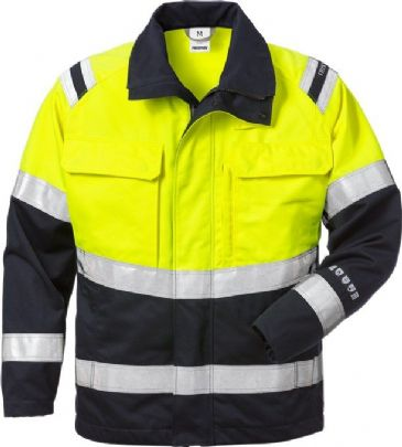 Fristads Flamestat High Vis Jacket CL 2 4176 ATHS (Hi Vis Yellow/Navy)
